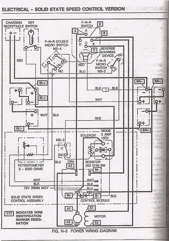 Wiring Diagram 1997 Ez Go Golf Cart : Basic ezgo electric golf cart wiring and manuals