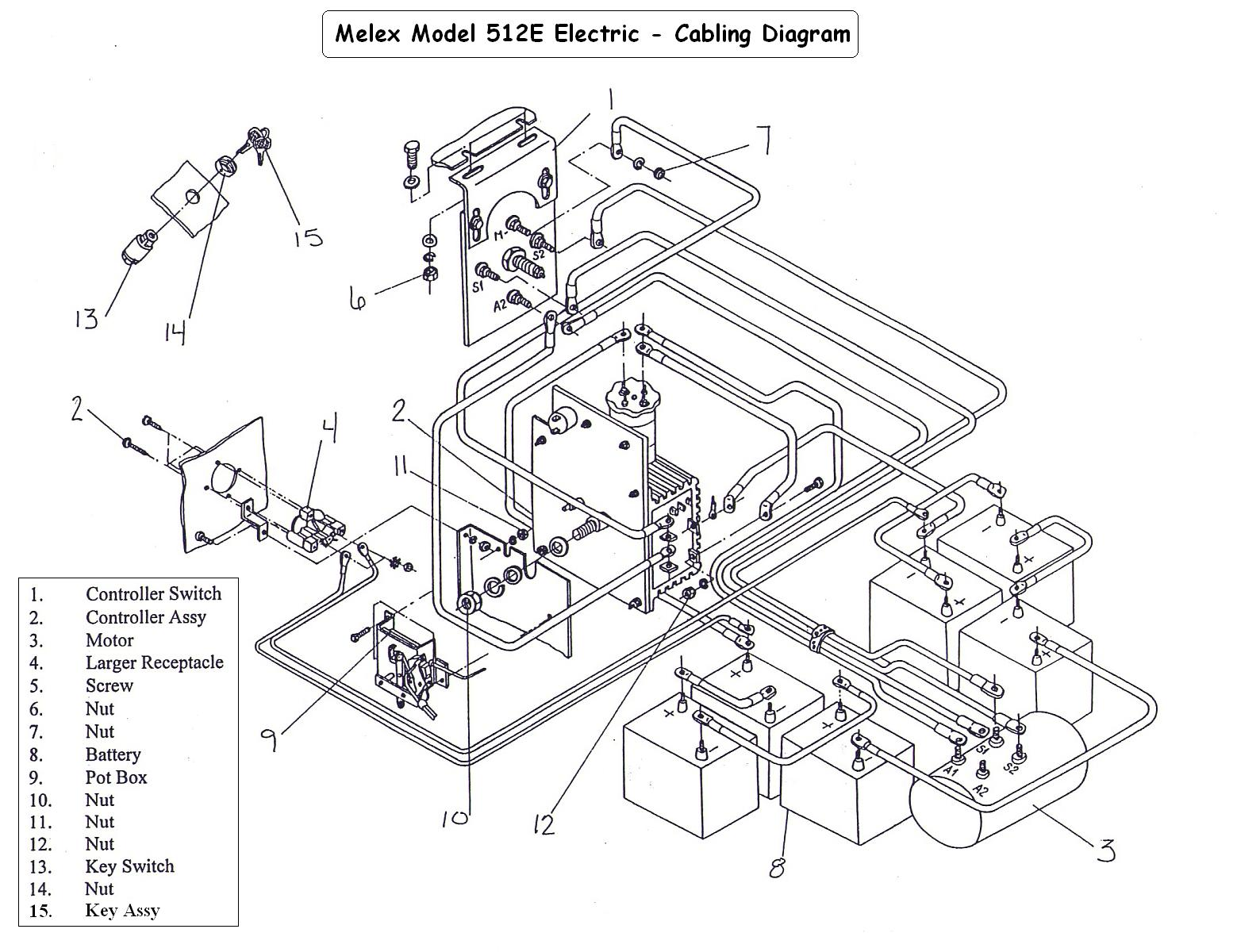 wiring diagram for 98 ezgo golf cart 36v with Vintagegolfcartparts   Gallery Categories Melex Melex Wiring Diagrams Media Melex512e Cabling Diagram on 1998 Club Car Gas Ezgo Wiring Diagram also 81 Ezgo Marathon Golf Cart Wiring Diagram also 48 Volt Ez Go Wiring Diagram as well 2003 Ezgo Wiring Diagram as well Vintagegolfcartparts   gallery categories Melex Melex Wiring Diagrams media Melex512E cabling diagram.