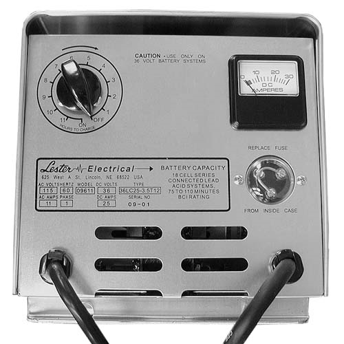 BT11-002 - Battery Charger, Manual, 36 Volt, 25 Amp, Crowsfoot