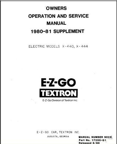 PU22-010 - Service Manual, Electric, '80-'81