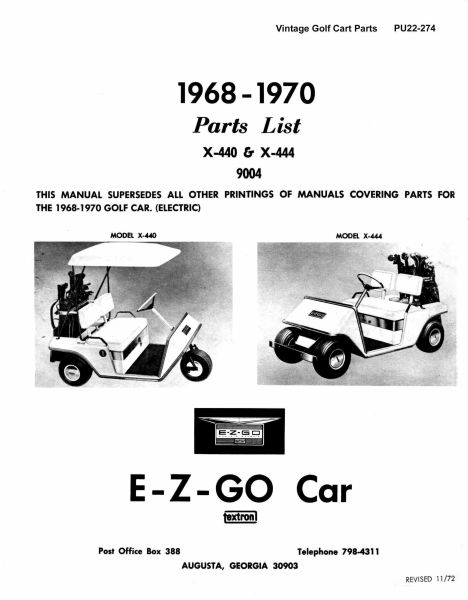 PU22-274 - Parts Manual, Electric, '68-'70