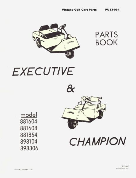 PU33-054 - Parts Manual, Electric, '68-'70